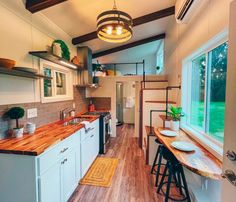 Two Bedroom Tiny House, Tiny House Talk, Tiny House Cabin, Tiny House Stairs, Cooking Appliances, Home Appliances, Solid Wood Cabinets, True Homes, Butcher Block Countertops