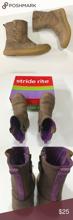 Stride Rite Zora brown boots Stride Rite Zora brown boots with purple trim on back and inside. Has side zipper for easy on/off. Stride Rite Shoes Boots