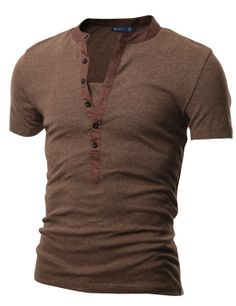 Doublju Mens Henley T-shirts with Short Sleeve at Amazon Men s Clothing  store  81e7ca786