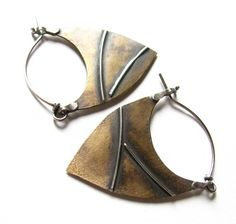 Zen Mixed Metal Hoop Earrings - Metalsmith Jewelry Modern Bronze And Silver Earrings - Wabi Sabi