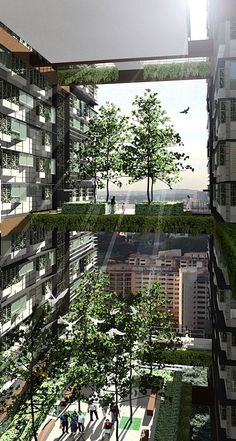 """""""Sky Streets"""" and """"Sky Parks"""", Rendering © Woha"""