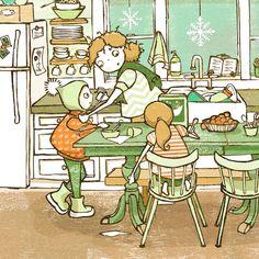 Kitchen Mom & Children Cartoon Illustration ~ Green & Orange