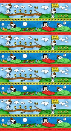 Camp Peanuts Campers Activities Stripe by Quilting Treasures - snoopy, woodstock, charlie brown, lucy, linus, peppermint patty