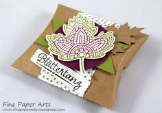 Stampin' up! Pillow box, Herbst, Autum, Blättertanz, Lighthearted Leaves; DSP Am Waldrand, DSP Into the Woods - Fine Paper Arts