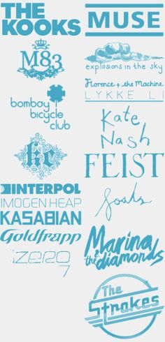 band logos - Muse, Bombay Bicycle Club, Feist, M83, The Kooks, The Strokes...