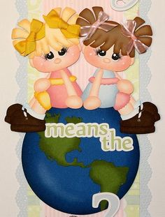 """""""Your Friendship Means the World 2 Me"""" Verical border for scrapbook pages."""