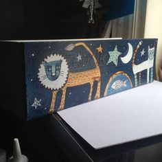 Illustrated upcycled port box- Lion and Cat by LisaBerkshire on Etsy