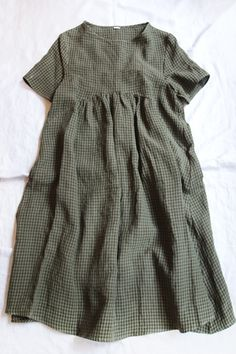 a.b Dress P480 Green Gingham 100% Linen / Made in Italy / available in: Green Gingham