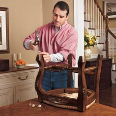 To avoid chairs wearing away the finish on hardwood floors, hammer tacks covered in felt to the bottoms of chairs that move a lot, and use rubber pads for couches that stay in one spot.