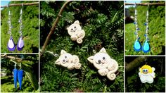 Cats, angel and other earrings... fimo, polymer clay