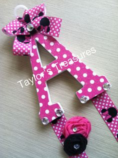 Taylors Treasures - Patterned Letter - Minnie Mouse Theme. $10.99, via Etsy.