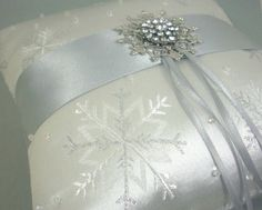 Silver Snowflake Ring Bearer Pillow
