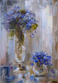 Vases with blue flowers.. By Oksana Kravchenko