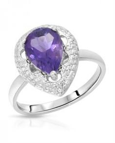 GENUINE AMETHYST AND DIAMOND RING SET IN 925 STERLING SILVER.  THIS IS THE EXACT ITEM YOU WILL RECIEVE.  FASHION ACCESSORY FROM JEWELERY-AUCTIONED.COM