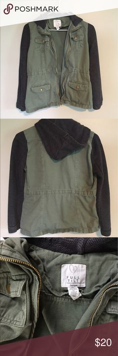 Tilly's Full Tilt Girl's Cargo Jacket Green and dark grey girl's large cargo jacket from Tilly's. Decent condition; no tears, holes, snags, or stains. Comes from a smoke-free environment. Full Tilt Jackets & Coats