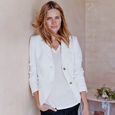 Relaxed Linen Blazer - Winter White | The White Company
