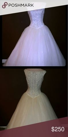 Lana Bisset Wedding Ball Gown Sweetheart off the shoulder Wedding Ball Gown. Lace up back. It has Silver embroidery designs in the bodies and Swarovski crystals throughout the entire gown. Lana Bisset  Dresses Wedding