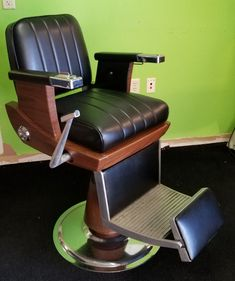 1971 Koken Barber Chair Reupholstered And Ready For Service.