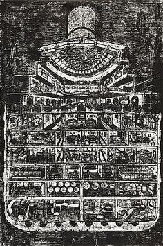 Matt Mullican, Untitled (Cutaway of Steamship) on ArtStack #matt-mullican #art