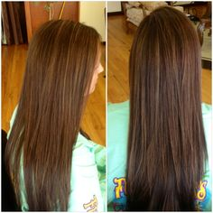 Dark brown hair with caramel highlights for fall