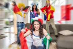 #Italian #supporter rejoices with #friends in background  #Euro2016 #France2016 #Soccer #supporters #fairplay #microstock #italian #italy #fans #football