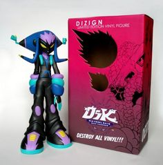 """Super Villain Dizign-Old Skool Kaiju  Old Skool Kaiju's Super Villain Dizign vinyl figure by Erick Scarecrow. Hip-Hop and Kaiju collide for the first time with Erick Scarecrow's Old Skool Kaiju series.  Super Villain Dizign is a 10"""" vinyl figure limited to 200pcs worldwide and comes packed in..."""