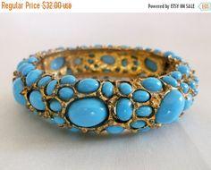 SALE Vintage Retro Blue Glass Cabochon Gold by MemawsTopDrawer