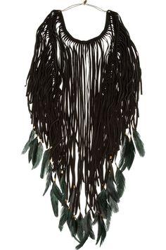 Shop for Dakota feather-embellished suede necklace by Isabel Marant at ShopStyle. Feather Jewelry, Feather Necklaces, Jewelry Necklaces, Tribal Jewelry, Boho Jewelry, Boho Fashion, Fashion Jewelry, Fashion Details, Fringe Necklace
