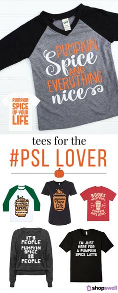 Show off your love of everything pumpkin with these fun fashion tees for the pumpkin spice latte obsessed.