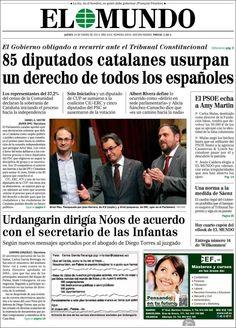 Los Titulares y Portadas de Noticias Destacadas Españolas del 24 de Enero de 2013 del Diario El Mundo ¿Que le parecio esta Portada de este Diario Español?