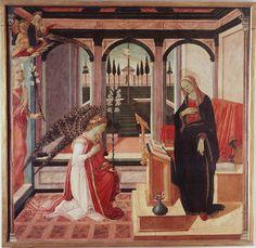 Annunciazione Autori Filippino Lippi e Maestro della Natività Johnson Data1460 circa, poi 1472 Tecnicatempera su tavola Dimensioni175 cm × 181 cm  UbicazioneGalleria dell'Accademia, Firenze