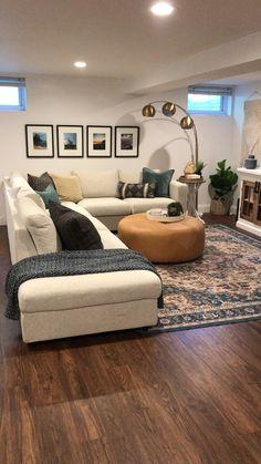 Basement Living Rooms, Living Room Decor Cozy, Home Living Room, Apartment Living, Cozy Basement, Living Room Interior, Living Room Unique Ideas, Small Living Rooms, Living Room Ideas Kid Friendly