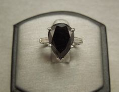 Vintage Estate C1960 Platinum 14K White Gold 6.56TCW Pear Tear Drop Natural Black Diamond Solitaire E F VVS Diamond Baguette Engagement Ring by antonltd on Etsy https://www.etsy.com/listing/463901000/vintage-estate-c1960-platinum-14k-white