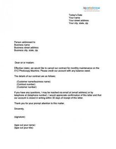 printable sample contract termination letter form letter to terminate a contract