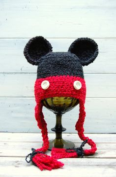 "Crochet hat inspired by ""Mickey Mouse"" for boy or girl. $25.00, via Etsy."