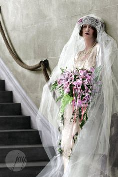 Cornelia Vanderbilt (from the ultra rich Vanderbilt family) on her wedding day at the Biltmore Hotel on April 29 This is either an old autochrome photo or a colorized black and white photo. Vintage Wedding Photos, 1920s Wedding, Vintage Bridal, Wedding Bride, Wedding Day, Vintage Weddings, April Wedding, Best Wedding Dresses, Wedding Attire