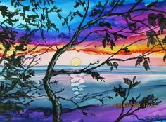 Alcohol inks beach ocean landscape artwork painting with trees.