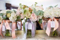 Bridesmaids Bouquets peach cream blush pink roses hydrangeas Hampton Manor Wedding Flowers Passion for Flowers (2)