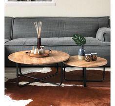 Industriële salontafel set mangohout en metaal - Gratis verzending! - LIVIN24