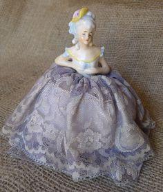 Old Antique Half Doll Needle Pin Cushion Porcelain Art Deco German Figurine