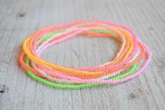 Neon beaded bracelets set/tiny bracelets Kandi Bracelets, Seed Bead Bracelets, Seed Bead Jewelry, Cord Bracelets, Ankle Bracelets, Bracelet Set, Seed Beads, Beaded Jewelry, Friendship Bracelets