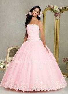 Quinceanera Dresses - $155.99 - Elegant A-Line/Princess Strapless Floor-Length Organza  Satin Quinceanera Dresses with Ruffle  Lace  Beading (021002858) http://jenjenhouse.com/pinterest-g2858