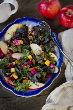 My Favorite Autumn Salad: Kale, Apples, Beets, Butternut Squash, Sultanas, Cranberries, Pecans and Kombucha Honey Mustard Viniagrette.    That's a mouthful, but it's delicious.    #sweettango
