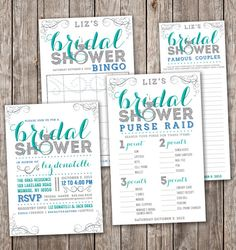 Bling Bridal Shower Kit. Matching Bridal Shower Bingo, Purse Raid, Famous Couples DIY. Modern Bridal Shower Invite. Sparkle Bridal Shower.