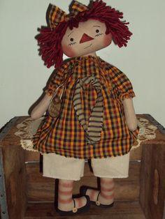 Primitive Raggedy Ann Homespun Autumn Annie #PrimitiveRaggedyAnnie