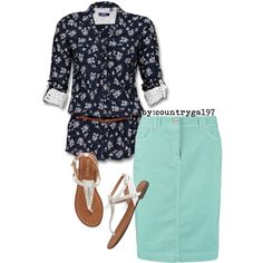 """Mint floral//summer style"" by countrygal97 on Polyvore"