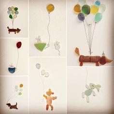 Seaglass balloon animals #seaglassart #seaglass #cute #seaglassobsession