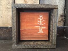 Hand Engraved Wood, Fall Home Decor, Rustic Wall Art, Autumn Tree, Primitive…
