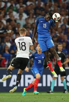 #EURO2016 Toni Kroos of Germany and Paul Pogba of France vie for the ball during the UEFA Euro 2016 semi final match between Germany and France at Stade...