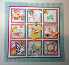 Stampin Up Baby Grid Project 2 - Stamping With Kristi Collage Frames, Box Frames, Baby Scrapbook, Scrapbook Pages, Scrapbooking, Pocket Cards, Baby Cards, Stampin Up Cards, Birthday Cards